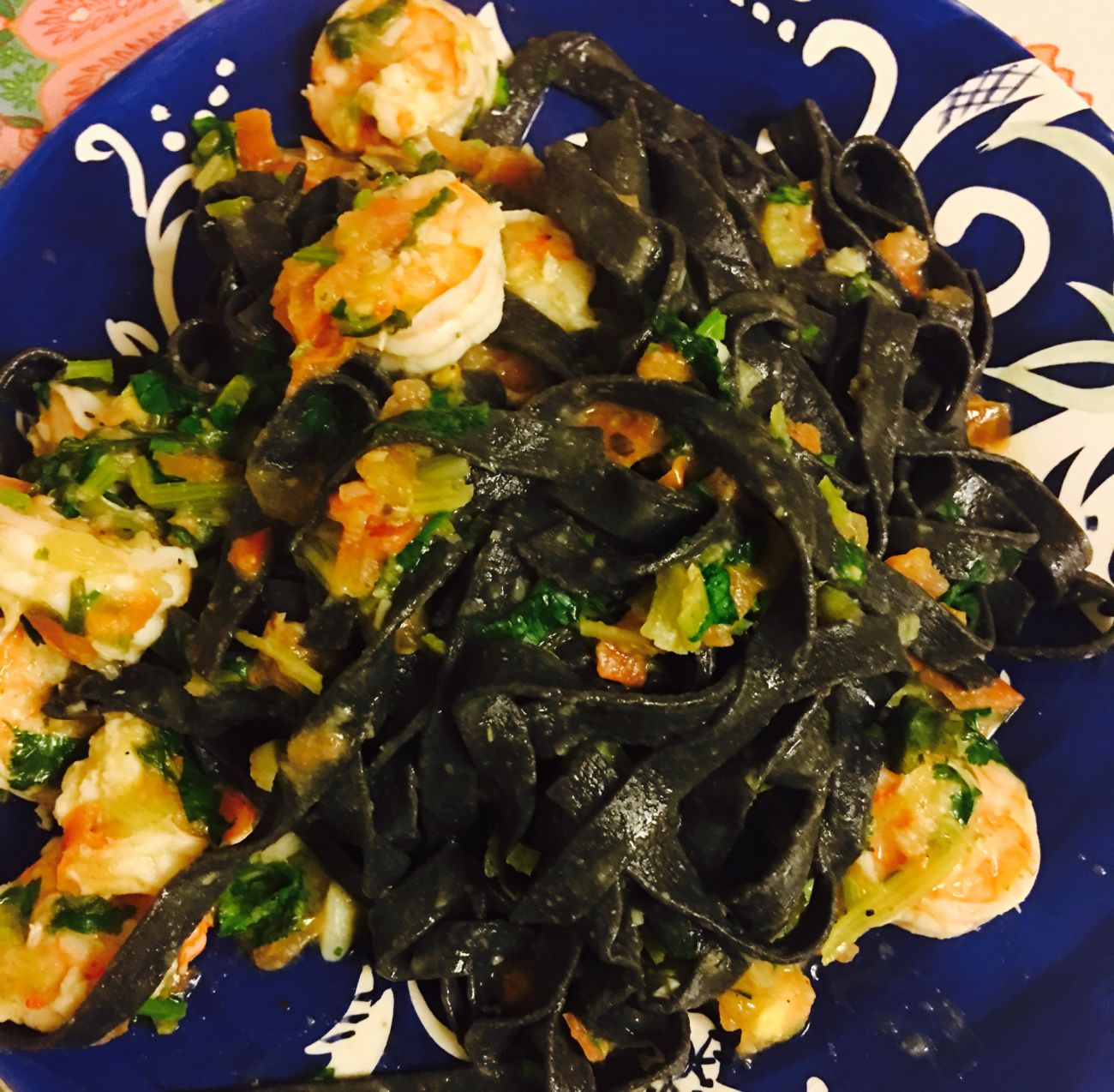 Squid Ink Pasta with Shrimp and Tomato Sauce