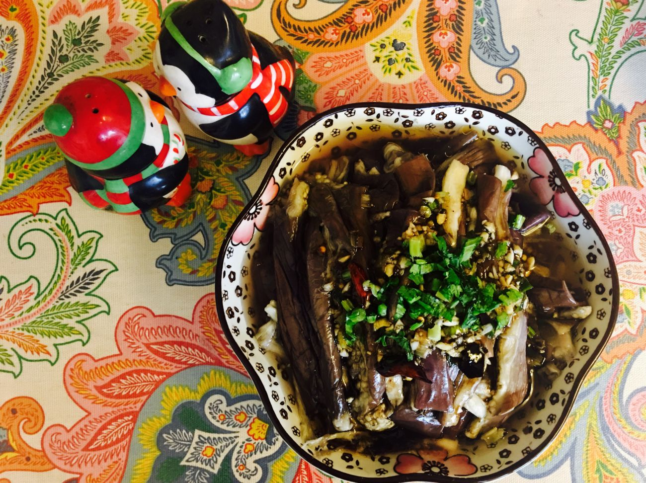 Steamed Eggplant with Sesame Soy Dressing